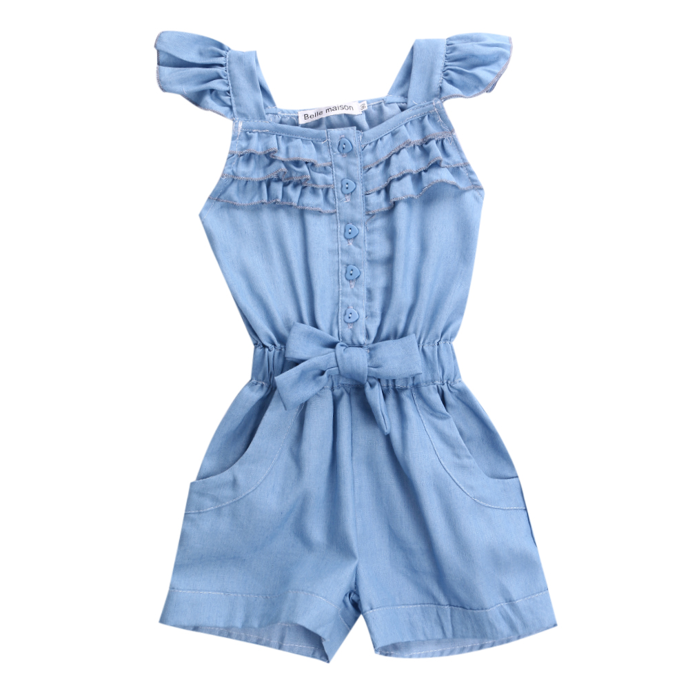 New Romper Clothing Girls Children Toddler Kids Rompers Denim Blue Washed Jeans Enfant Girl Clothes Casual Sleeveless Bow Cotton 2017 cotton toddler kids girls clothes sleeveless floral romper baby girl rompers playsuit one pieces outfit kids tracksuit