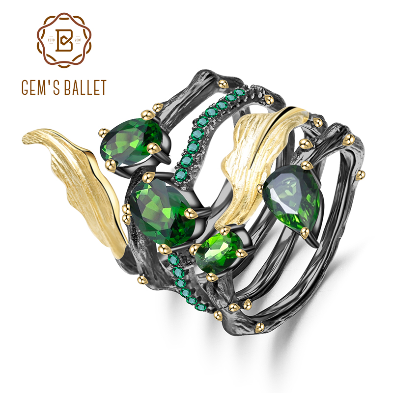 GEM'S BALLET 2.57Ct Natural Chrome Diopside Gemstone Finger Ring 925 Sterling Sliver Leaf Band Rings For Women Fine Jewelry