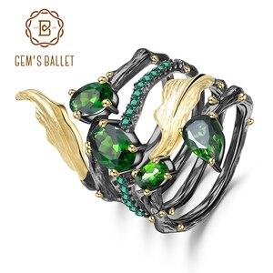 GEM'S balet 2.57Ct naturalny chrom Diopside kamień palec serdeczny 925 srebro liść obrączki dla kobiet biżuterii