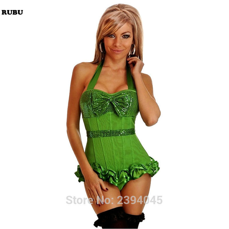 women Sequined Strapped   Corset   Waist Cincher Shaper   Bustier     Corset   with Sequin Detail and Front Bow three Colors