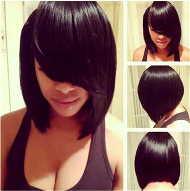 Lady Short Straight Bob Synthetic Hair Heat Resistant Natural Black Women's Wigs + free wig cap sw8046-1b