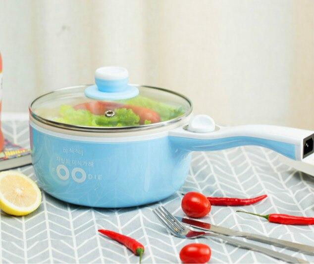 220 В 700 Вт 1.55L синий/хаки Многофункциональный Керамика Электрический горшок два-Gears антипригарным сковорода электрическая плита