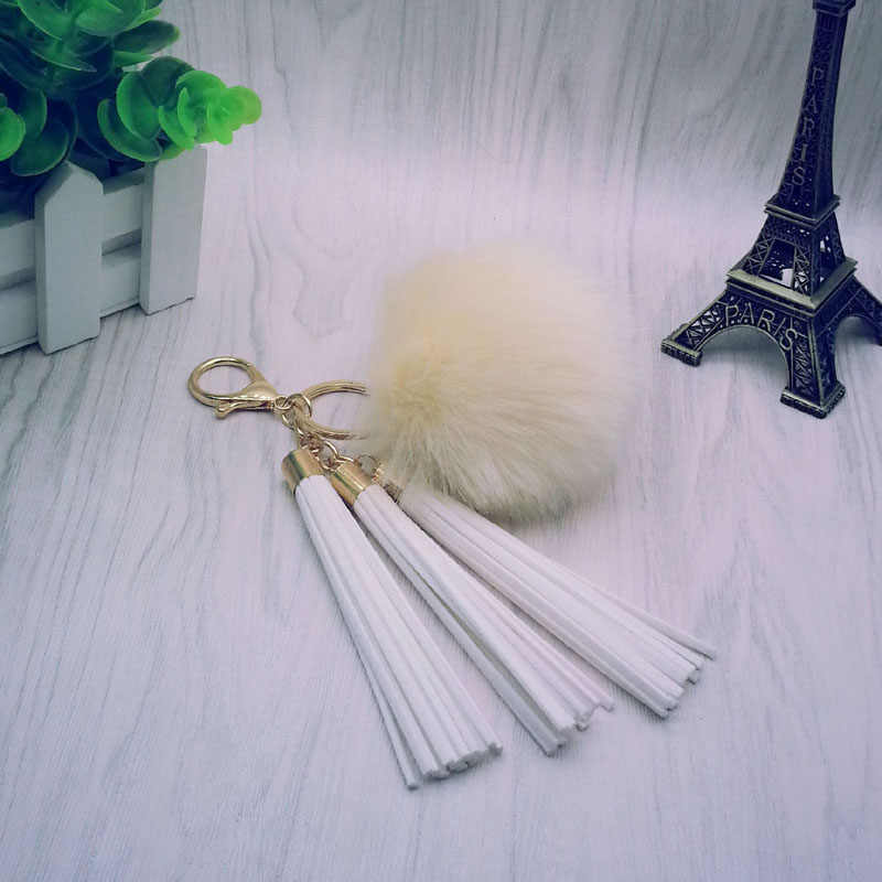 Mulheres Borla Chaveiro Bola de Pêlo com Borlas e 8 3 centímetros Pompom Ouro-Para Chaveiro Saco Chave Do Carro anel Da Jóia 16012