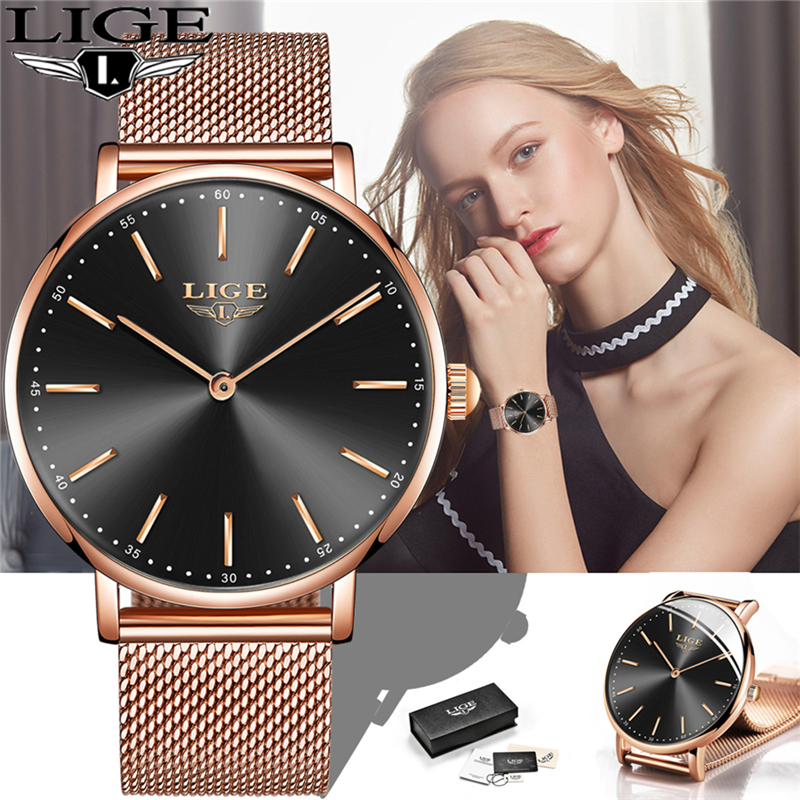 LIGE Ultra Thin Ladies Watch Brand Luxury Women Watch Waterproof Rose Gold Stainless Steel Quartz Wrist Watch Women Montre Femme