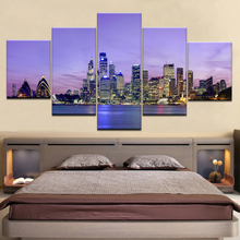 Modular Wall Art Poster Frame Room Home Decor Canvas Pictures 5 Pieces Sydney Opera House Building Night View Seascape Painting