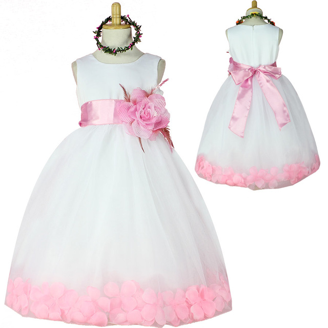 Tulle Flower Girl Petals Dress Children Kids Bridesmaid Party Dresses Enfant Elegant Tutu Dress Pageant Wedding Princess Dress