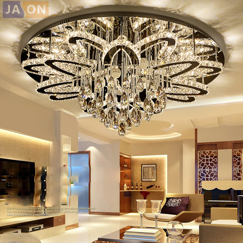 LED Modern Stainless Steel Crystal Round RGB Dimmable Lamparas De Techo Ceiling Lights.LED Ceiling Light.Ceiling Lamp For FoyerLED Modern Stainless Steel Crystal Round RGB Dimmable Lamparas De Techo Ceiling Lights.LED Ceiling Light.Ceiling Lamp For Foyer