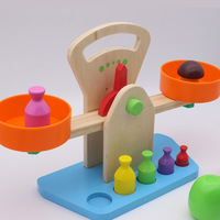 Wooden Simulation Balance Scale Wooden Measure Weight Toy Children Early Education Intelligence Tool Dropshiping