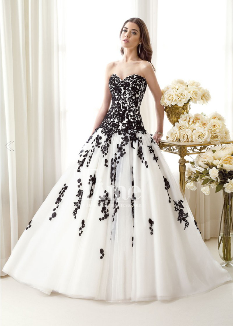 tulle ball gown sweetheart black and white wedding dresses. Black Bedroom Furniture Sets. Home Design Ideas