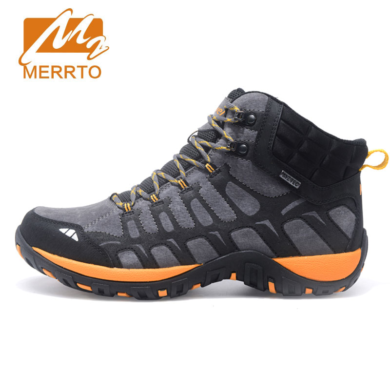 Merrto New Hiking Shoes Men Genuine Leather Outdoor Breathable Hiking Boots Men Trekking Shoes Camping Walking Climbing Shoes 2018 hiking boots 2017rax spring summer hiking shoes men breathable outdoor 3 8women antiskid walking shocking offroad climbing