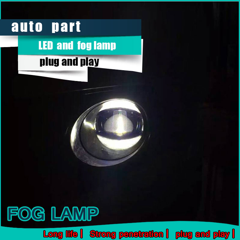 Car Styling Daytime Running Light for Toyota FORTUNER LED Fog Light Auto Angel Eye Fog Lamp LED DRL High&Low Beam Fast Shipping ironwalls 2pcs set car headlight cree csp chips 72w hi low beam led driving light auto front fog light for audi toyota honda