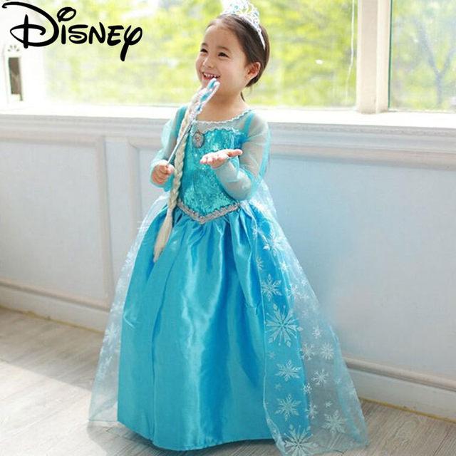 Disney Frozen dress girls Halloween Costumes for kids snow queen cosplay princess anna elza fantasia vestido infantils Halloween  sc 1 st  Aliexpress & Online Shop Disney Frozen dress girls Halloween Costumes for kids ...
