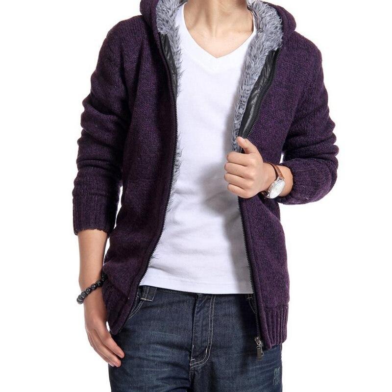 2019 Autumn Winter Men's Sweater Coat Faux Fur Wool Sweater Jackets Men Zipper Knitted Thick Coat Casual Knitwear Warm Outwear