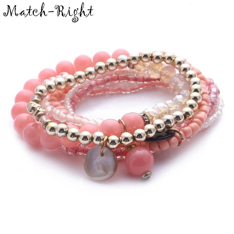 Match-Right Women Bohemia Jewelry of Multilayer Elastic Weave Set Bracelets&Bangles with Shells Charm Wrap Beads Bracelet LG-065