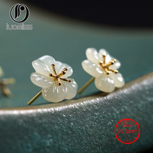 Real 925 Sterling Silver Nature Hetian White Jade Plum Flower Stud for Women 925 sterling silver natural hetian white jade handmade hair sticks magpie butterfly design hairwear for women charms jewelry