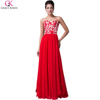 Grace karin אדום ארוך שמלות הערב 2017 חדש תחרה שיפון אדום הערב אלגנטי שמלות חתונת אירוע מיוחד מסיבת בנות