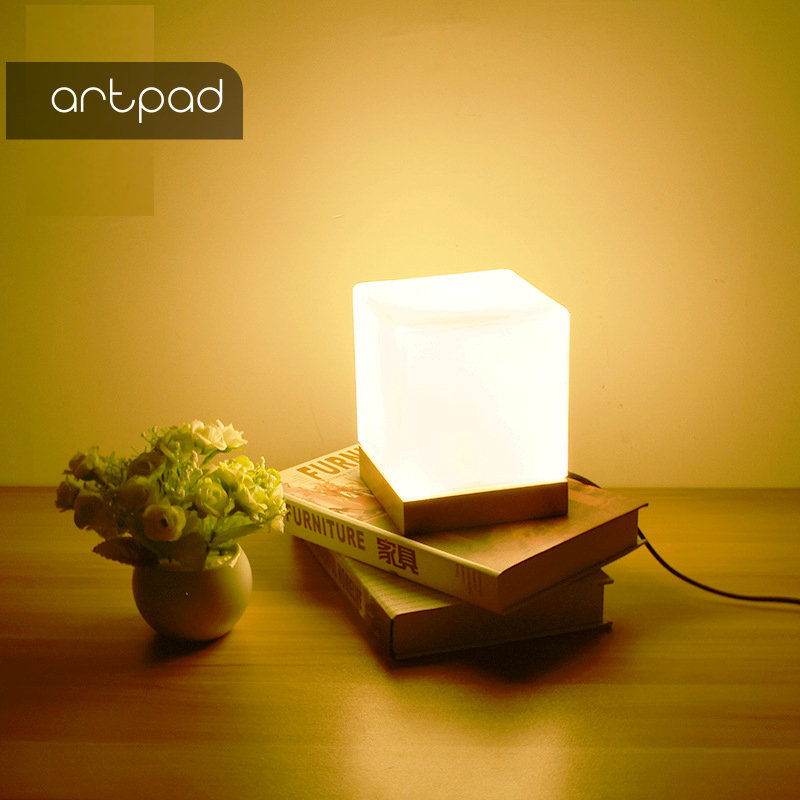 Artpad Baby Bedroom Cube Glass Night light Wooden Base Modern Minimalist Children Desk Lamp for New Year Christmas Decoration
