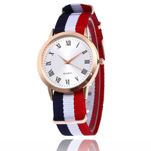 New Top Brand Ybotti Fashion High Quality Casual Simple Rosy Gold Roman Numerals Dial Colors Fabric Strap Quartz Watch Men Women