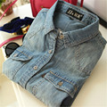 Venta caliente 2016 Mujeres del Resorte de Mezclilla Blusa Delgada de Manga Larga Jeans Camisa de Las Mujeres Elegantes de La Vendimia de Moda de Verano Blusa Denim Tops XXL
