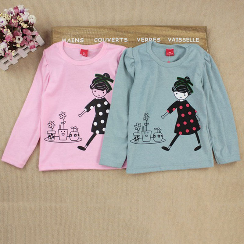 T-Shirt Clothing Tops Long-Sleeve Print Toddler Autumn Girls Cartoon Children's for Kids