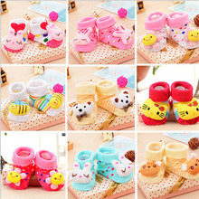 2015 Lovely Cartoon Antiskid Baby Socks Cute Animals Toddler Boys Girls Learning Walk First Walkers