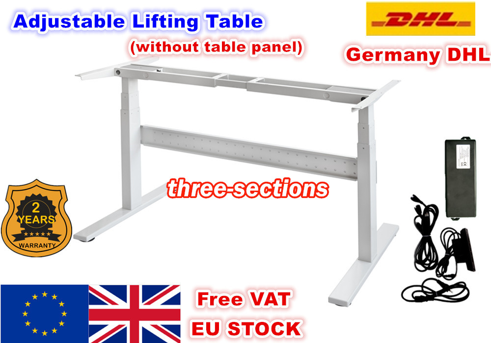 [EU FREE VAT] Flip two-foot three-section Electric Motor Lift Desk Lift Table Column mobile table folding escritorio Black/White