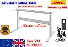[Ue livre de iva] flip dois pé três seção de elevador do motor elétrico mesa elevador coluna tabela móvel dobrável escritorio preto/branco