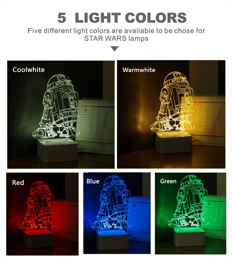 CNHIDEE 3D Visual Led Night Lights for Kids Robort R2 Touch Table Lampara as Besides Lampe for Star war Fans