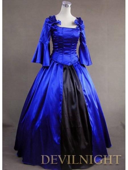 Синий и Черный Старинный Готический Викторианской Бальные Платья Платье Вверх Игры