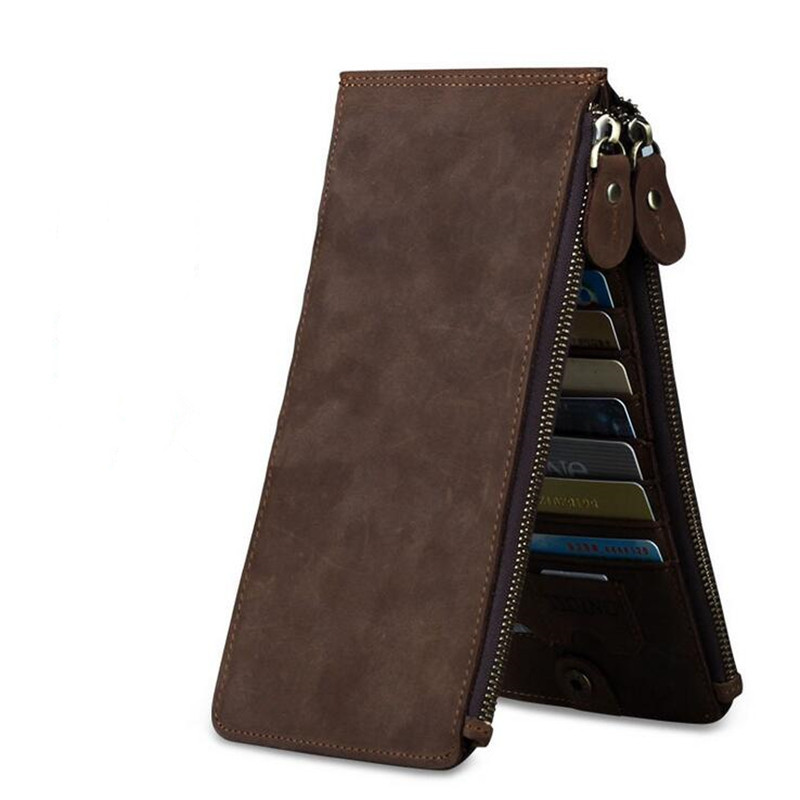 Retro male Shi Duoka bit crazy horse font b wallet b font double zipper bag leather
