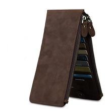Retro male Shi Duoka bit crazy horse wallet double zipper bag leather business card wallet phone