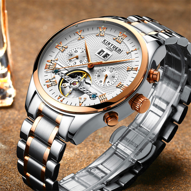 ef6cd1752ee KINYUED Skeleton Automatic Watch Men Waterproof Flying Tourbillon Mechanical  Watches Mens Self Winding Horloges Mannen Dropship