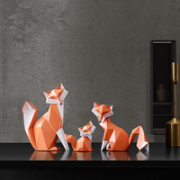 Origami Fox Statue Abstraction Geometry Animal Resin Art&Craft Home Accessories Wedding Gift L2969