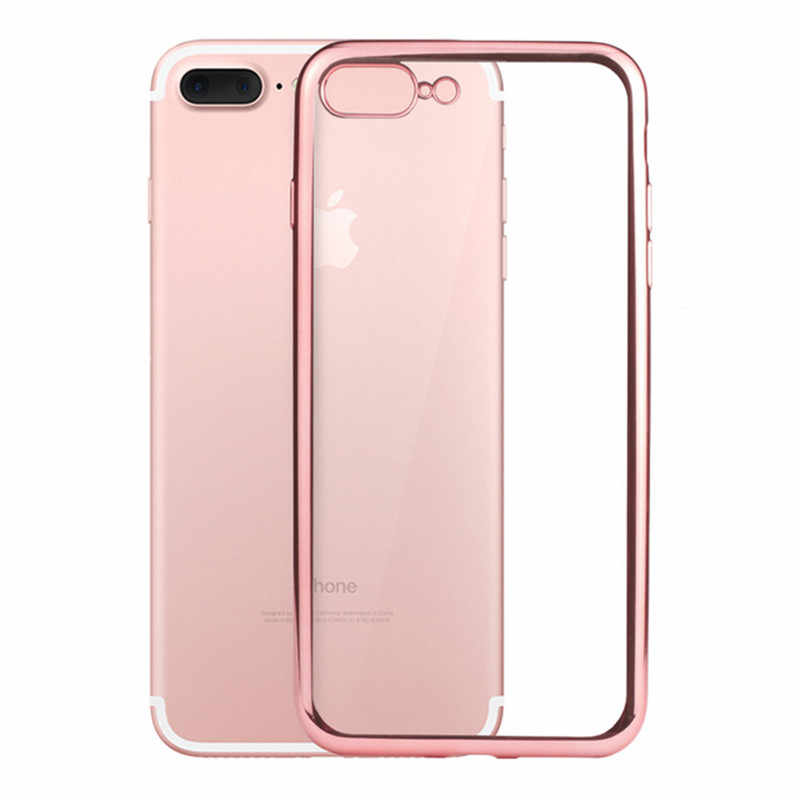 For iphone XS Rose Gold Soft Silicone on For iphone XS MAX Plating Transparent On For iphone XR 8Plus 6S 7 Case Fundas Capa