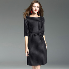 2017 new brand runway women autumn dress top quality fashion striped half knee-length dress brief office lady dress with sashes
