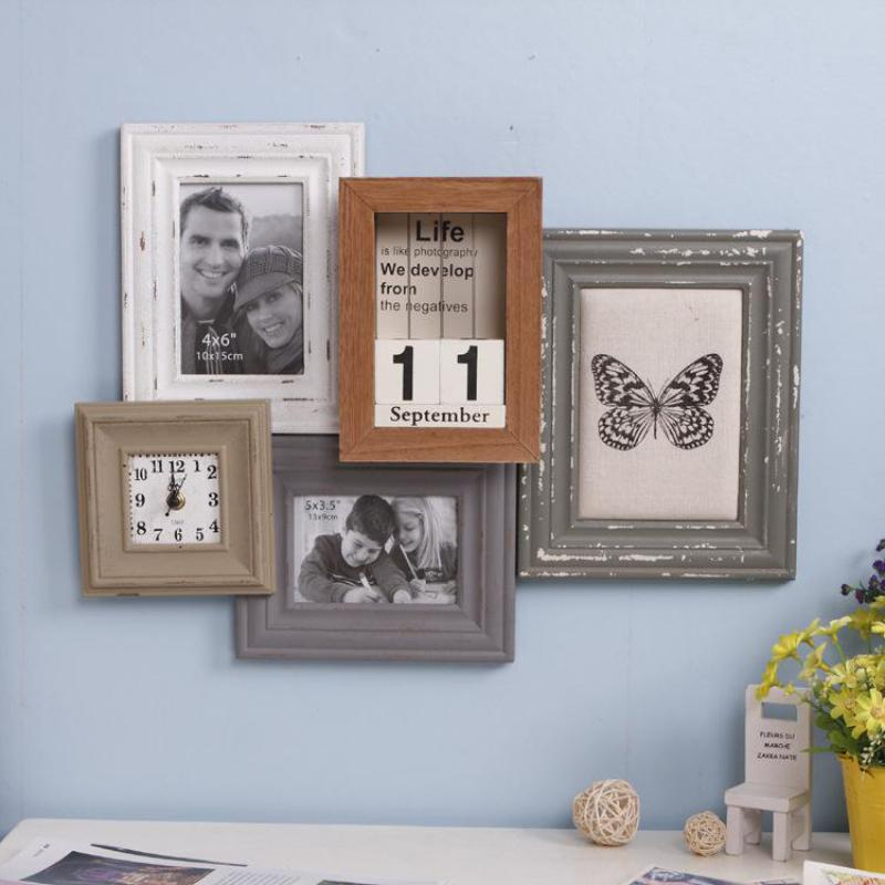 aliexpresscom buy home decor wooden photo frame set picture frame clock picture frames collage vintage zakka photo frames for picture watch 1569 from
