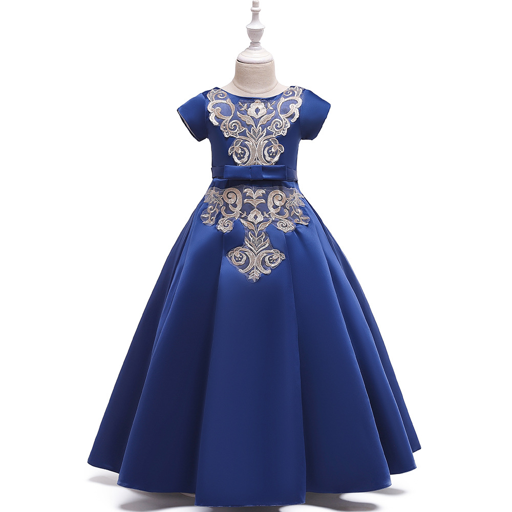 Charming A-Line Long Royal Blue Embroidery Birthday Party   Dresses   Short Sleeves Satin   Flower     Girl     Dress   for Wedding 2019