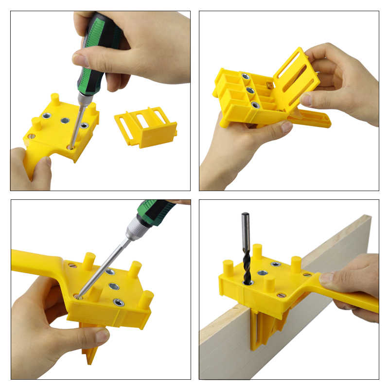 木工自己センタリング doweling ジグ 6/8/10 ミリメートルポケット穴ジグ木材ダボ関節パンチャードリルガイド大工ツール