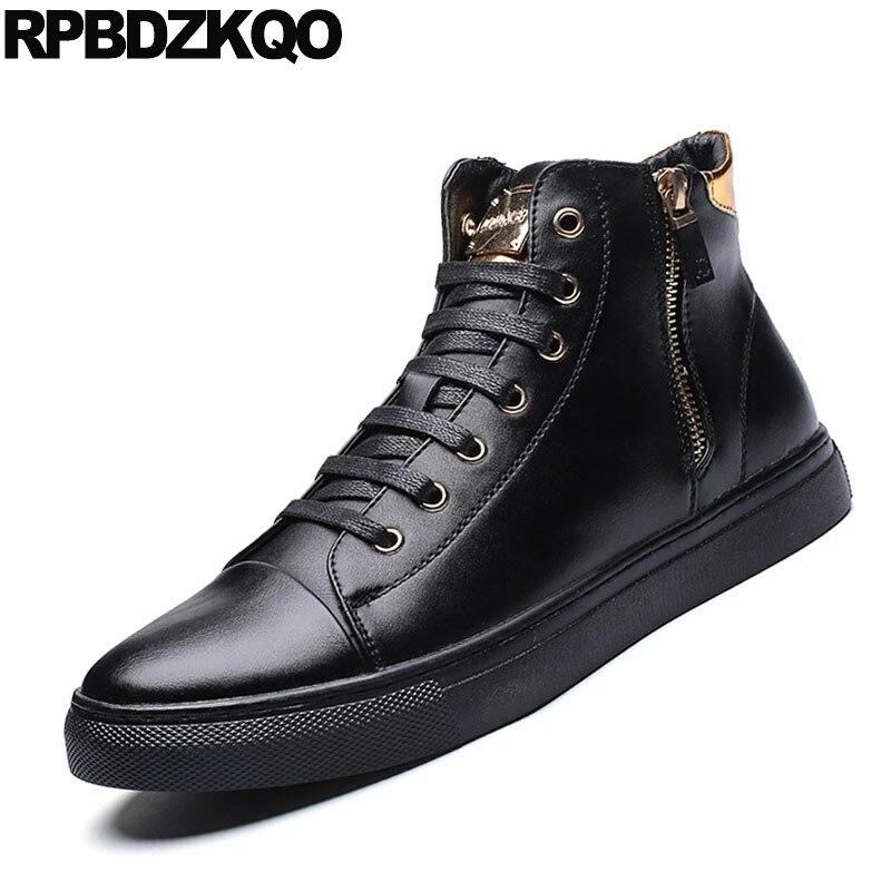 Skate Haute Hop Homme À Noir 2018 Lacets Décontracté Sneakers Mode Hip Métal Confort Zipper Formateurs Top Pour Chaussures Nouveau Printemps Populaire De 5jRA4L