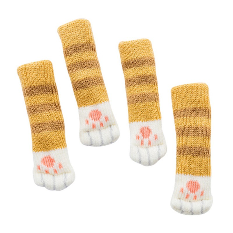 4pcs Knitting Cat Style Chair Leg Socks Home Furniture Leg Floor Protectors Non-slip Table Legs cover prevent cat scratching 4