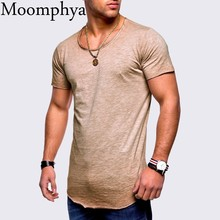 Moomphya Simple solid color cool men t shirt Summer t-shirt men Longline curved hem hip hop tshirt streetwear camisetas hombre