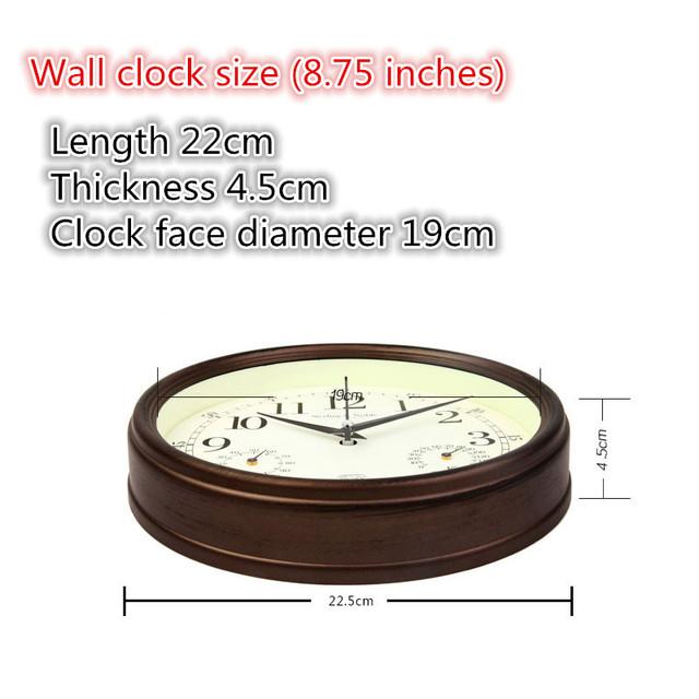 Meijswxj Saat Wall Clock Modern simplicity Mute round Temperature and humidity wall clocks Relogio de parede living room clock