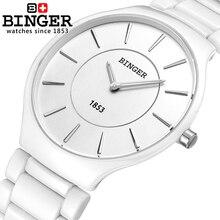 Suiza Binger Relojes de marca de lujo de cerámica relojes de cuarzo hombres de los amantes del estilo 300 M Resistencia Al Agua B8006B