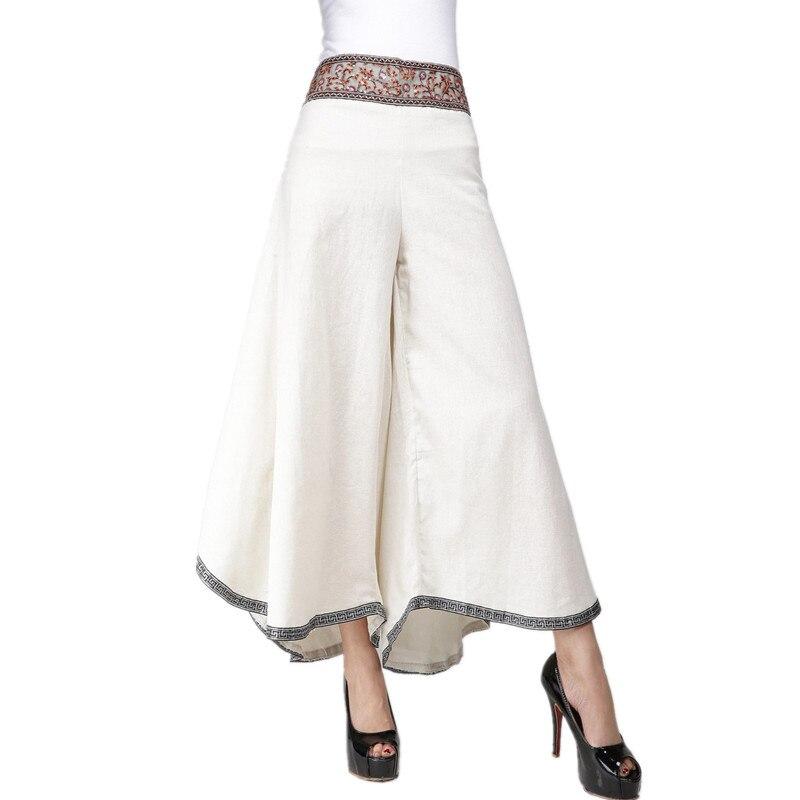 Summer   Pants   Women Cotton Linen Bottom Loose   Wide     Leg     Pants   Woman Clothing Pantalon Femme Black White Elegant Ladies Trousers