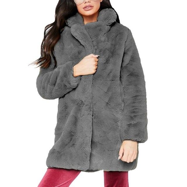 OEAK 2018 Women Faux Fur Long Coat Winter Warm Fluffy Cardigan Jacket Female Casual Soft Plush Teddy Coat Plus Size Pink Outwear 2