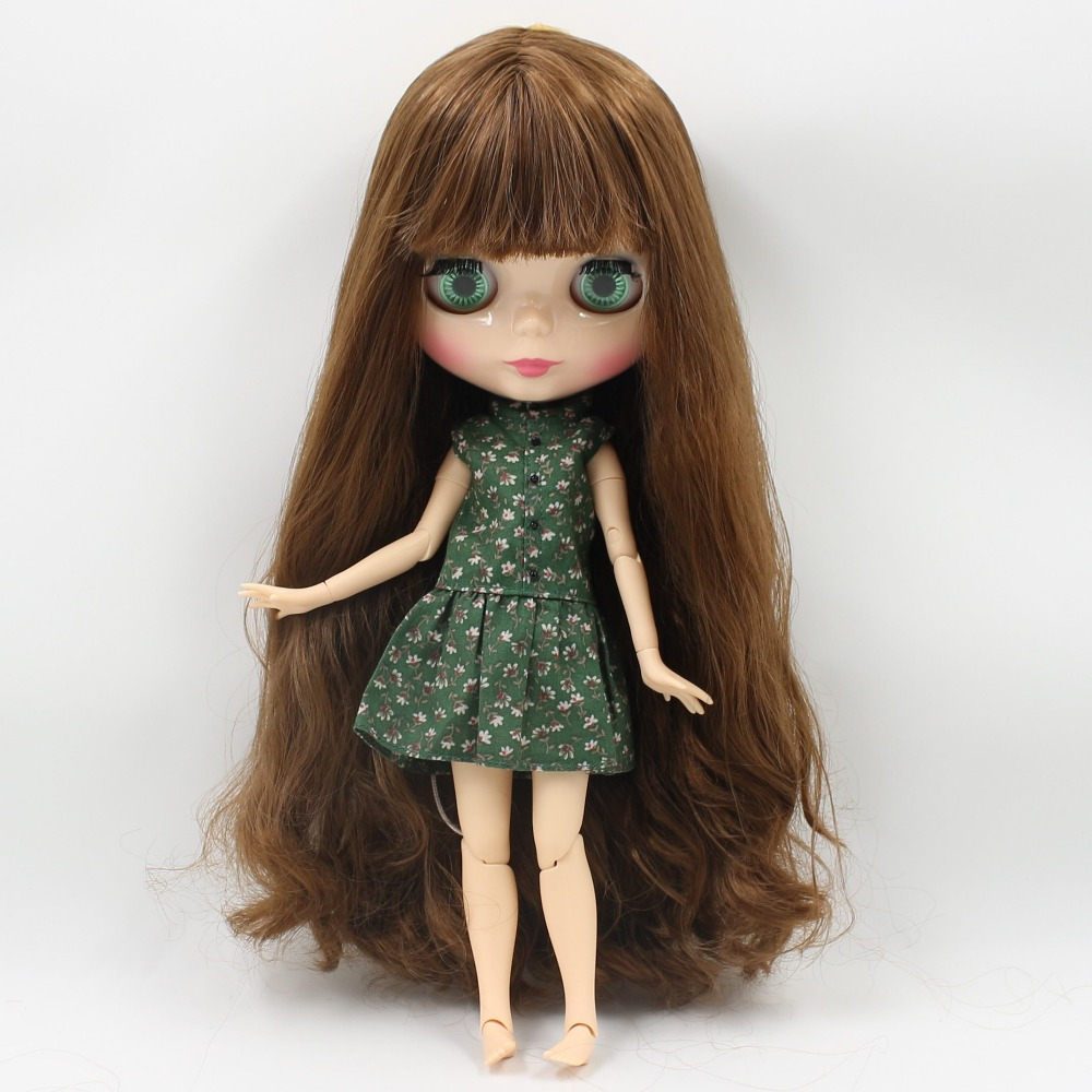 Free shipping blyth doll icy licca body BL9158/0635 brown mix golden hair natural skin joint body 1/6 30cm gift toy