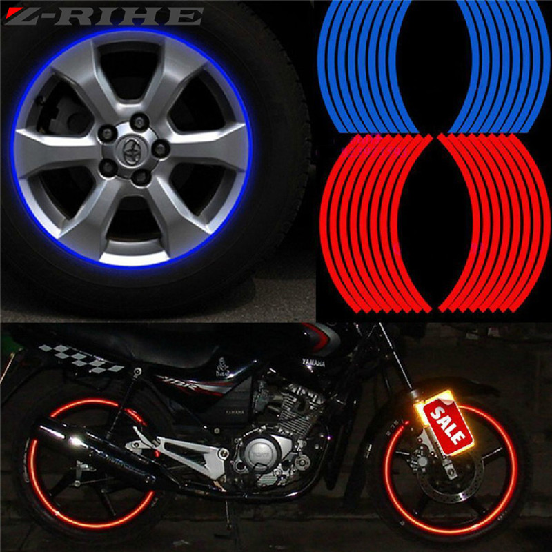 New! 16 Pcs Strips Wheel Stickers And Decals 17 18 Reflective Rim Tape Bike Motorcycle Car Tape 5 Colors Car Styling Universal