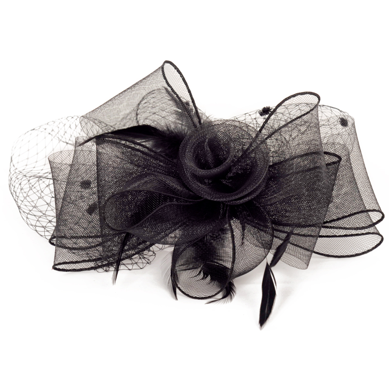 Tocados Sombreros Bodas Elegant Black Woman Wedding Hats With Clip Feather Fascinators For Weddings Bridal Accessories Hats