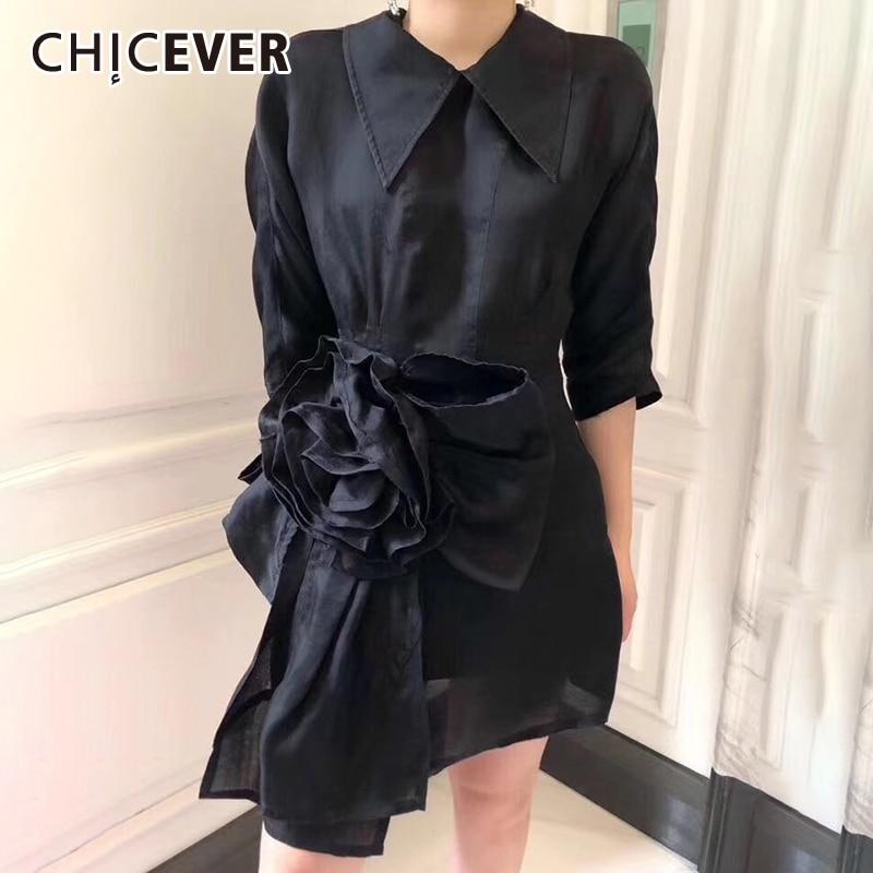 CHICEVER A Line Dress For Women Lapel Collar Half Sleeve Flower Patchwork Loose Dresses Female Fashion