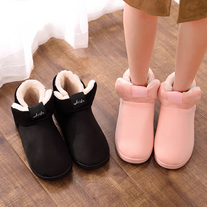 Women Plush Home Boots Warm Fur Ankle Boots Couple Lovers Indoor Home House Floors Cotton Shoes Woman Botas Mujer Plus Size plush winter slippers indoor animal emoji furry house home with fur flip flops women fluffy rihanna slides fenty shoes